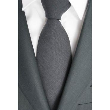Corbata color Gris Oscuro Mate Cacharel - 100% Pura Lana - Hecho en Italia