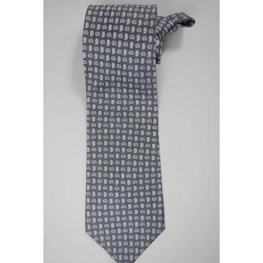 Tie Grey Small Designs White - Laura Biagiotti - 100% Pure Silk
