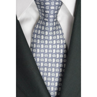 Krawatte Grau Kleine Zeichnungen, Die Weiß - Laura Biagiotti - 100% Reine Seide