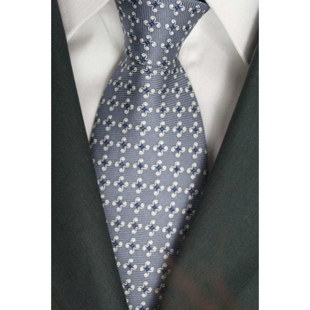 Tie Grey Small patterns Blue and White - Laura Biagiotti - 100% Pure Silk
