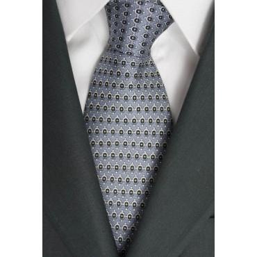 Cravatta Grigio Piccoli Disegni Nero e Bianco - Laura Biagiotti - 100% Pura Seta