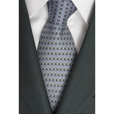 Krawatte Grau mit Kleinen Zeichnungen in Schwarz und Weiß - Laura Biagiotti - 100% Reine Seide