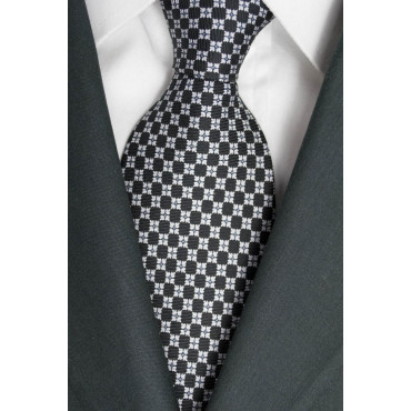 Tie Black Small Designs White - Laura Biagiotti - 100% Pure Silk