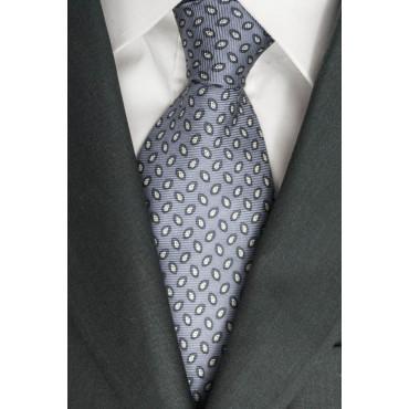 Cravatta Grigio Piccoli Disegni Bianco e Grigio Scuro - Laura Biagiotti - 100% Pura Seta
