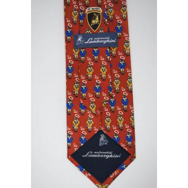 Rote Krawatte Mit Kleinen Zeichnungen Stier Lamborghini - 100% Reine Seide