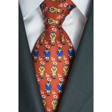Red Tie With Small Designs Bull Lamborghini - 100% Pure Silk