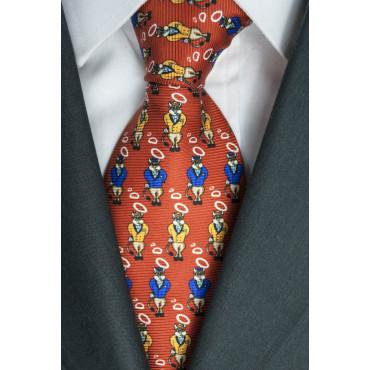 Red Tie With Small Designs Bull Lamborghini - 100% Pure Silk