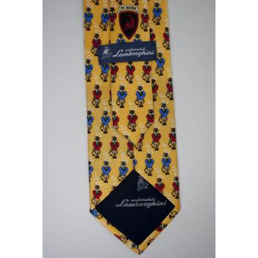 Cravatta Gialla Piccoli Disegni Toro Lamborghini  - 100% Pura Seta