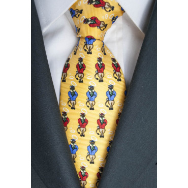 Yellow Tie With Small Designs Bull Lamborghini - 100% Pure Silk