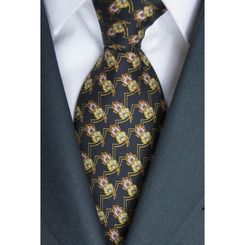 Cravatta Nero Piccoli Disegni Geometrici Lamborghini  - 100% Pura Seta