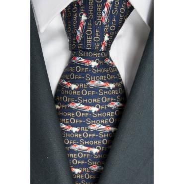 Cravatta Blu Scuro Disegni Barche OffShore Lamborghini  - 100% Pura Seta