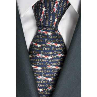 Tie Dark Blue Designs Boats OffShore Lamborghini - 100% Pure Silk