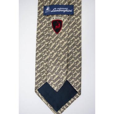 Cravatta Beige Disegni OffShore Lamborghini  - 100% Pura Seta