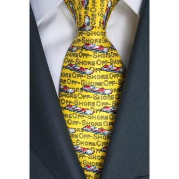 Krawatte Gelb-Zeichnungen Boote OffShore-Lamborghini - 100% Reine Seide