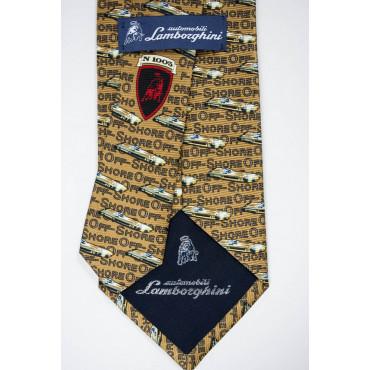 Cravatta Beige Disegni Barche OffShore Lamborghini  - 100% Pura Seta