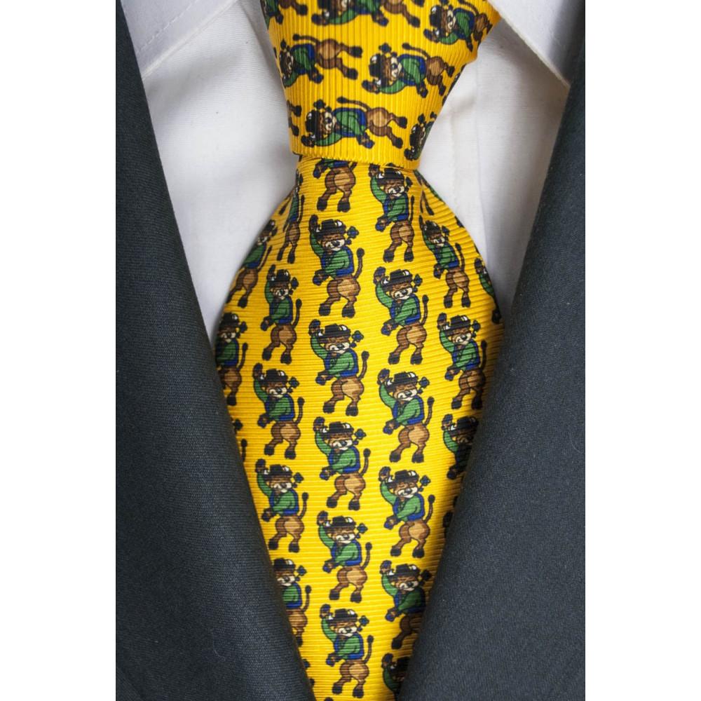Cravatta Gialla Piccoli Disegni Toro Lamborghini  - 1027 - 100% Pura Seta