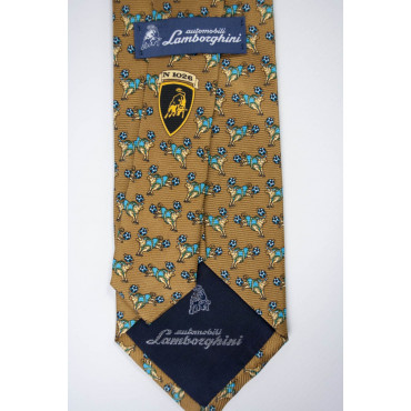 Tie Beige Small Designs Bull Lamborghini - 1026 - 100% Pure Silk