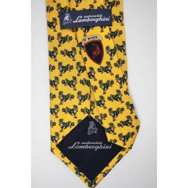 Yellow Tie With Small Designs Bull Lamborghini - 1026 - 100% Pure Silk
