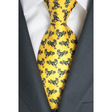 Cravatta Giallo Piccoli Disegni Toro Lamborghini  - 1026 - 100% Pura Seta
