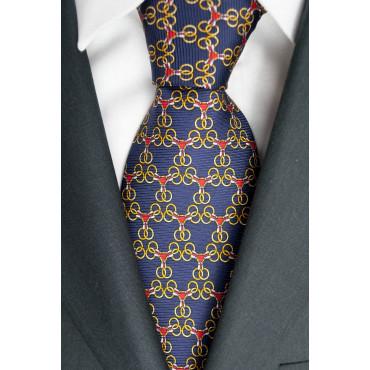 Cravatta Blu Navy Piccoli Disegni Lamborghini  - 1020 - 100% Pura Seta