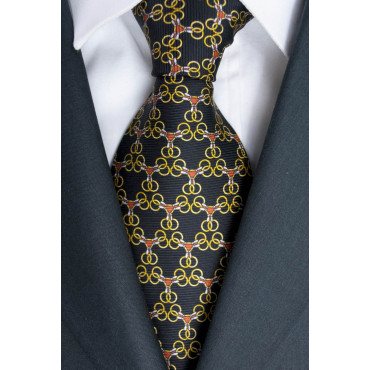 Cravatta nero Piccoli Disegni Lamborghini  - 1020 - 100% Pura Seta
