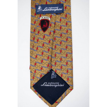 Tie Beige Small Drawings Lamborghini - 1019 - 100% Pure Silk