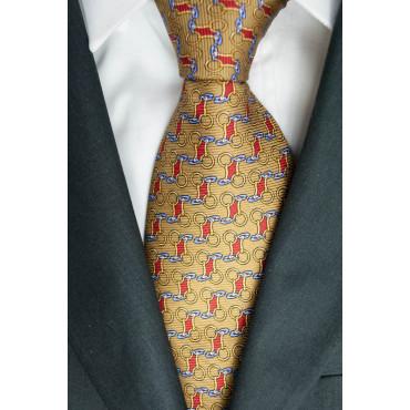 Corbata Color Beige Pequeños Dibujos Lamborghini - 1019 - 100% Pura Seda