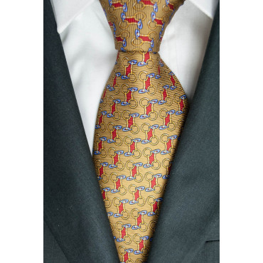 Tie Beige Small Drawings Lamborghini - 1019 - 100% Pure Silk