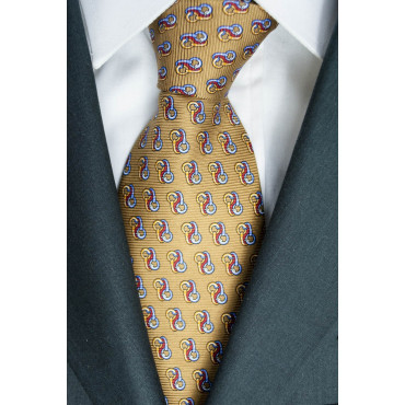 Tie Beige Small Drawings Lamborghini - 1018 - 100% Pure Silk