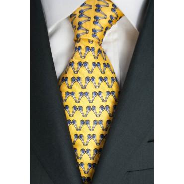 Cravatta Gialla Piccoli Disegni Lamborghini  - 1011 - 100% Pura Seta