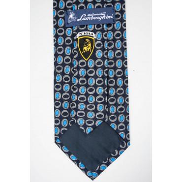 Blue Tie With Small Designs Turquoise Lamborghini - 1013 - 100% Pure Silk