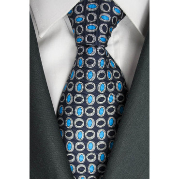 Blue Tie With Small Designs Turquoise Lamborghini - 1013 - 100% Pure Silk