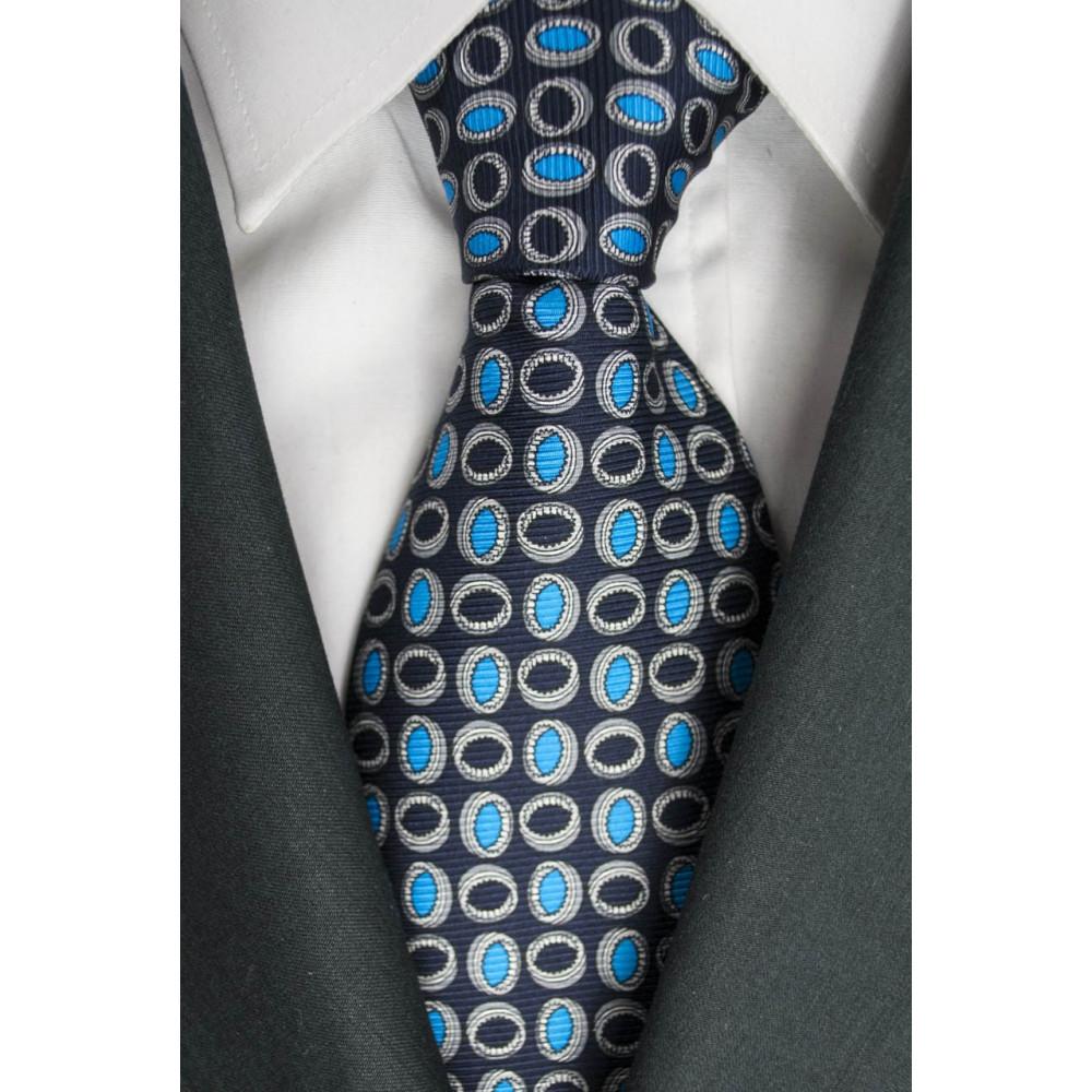 Cravatta Blu Piccoli Disegni Turchese Lamborghini  - 1013 - 100% Pura Seta