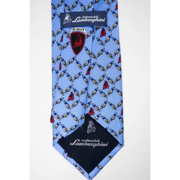 Cravatta Celeste Disegno Candele e Toro Lamborghini  - 1017 - 100% Pura Seta