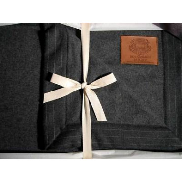 Blanket Double bed Luxury 100% Pure Cashmere Dark Gray 270x230 350 gr/sqm - Bedroom