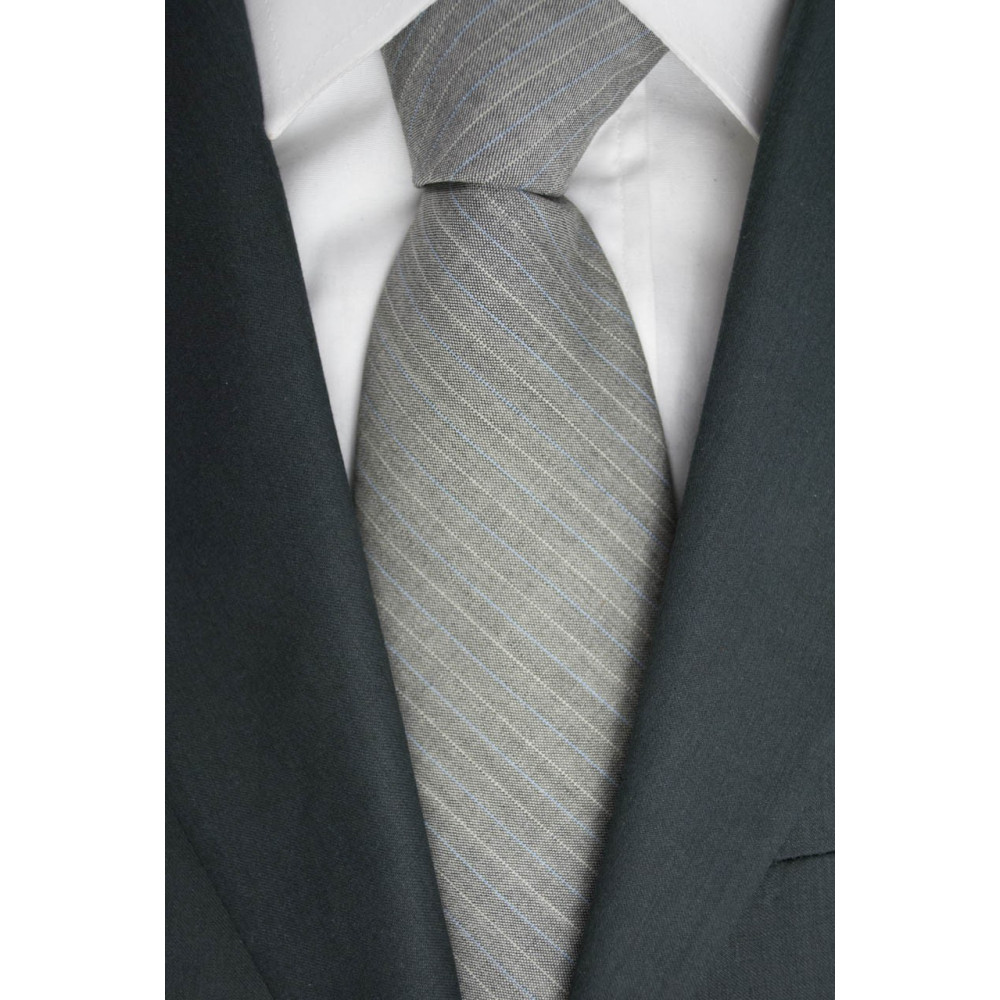 Tie Grey Regimental Cacharel - 100% Pure new Wool - Made in Italy