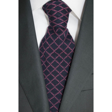 Knit tie Dark Blue Diamond pattern Pink - 100% Pure Cashmere - Made in Italy