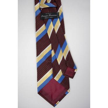 Cravatta Regimental Giallo Celeste, Nero Rosso - 100% Pura Seta - Made in Italy
