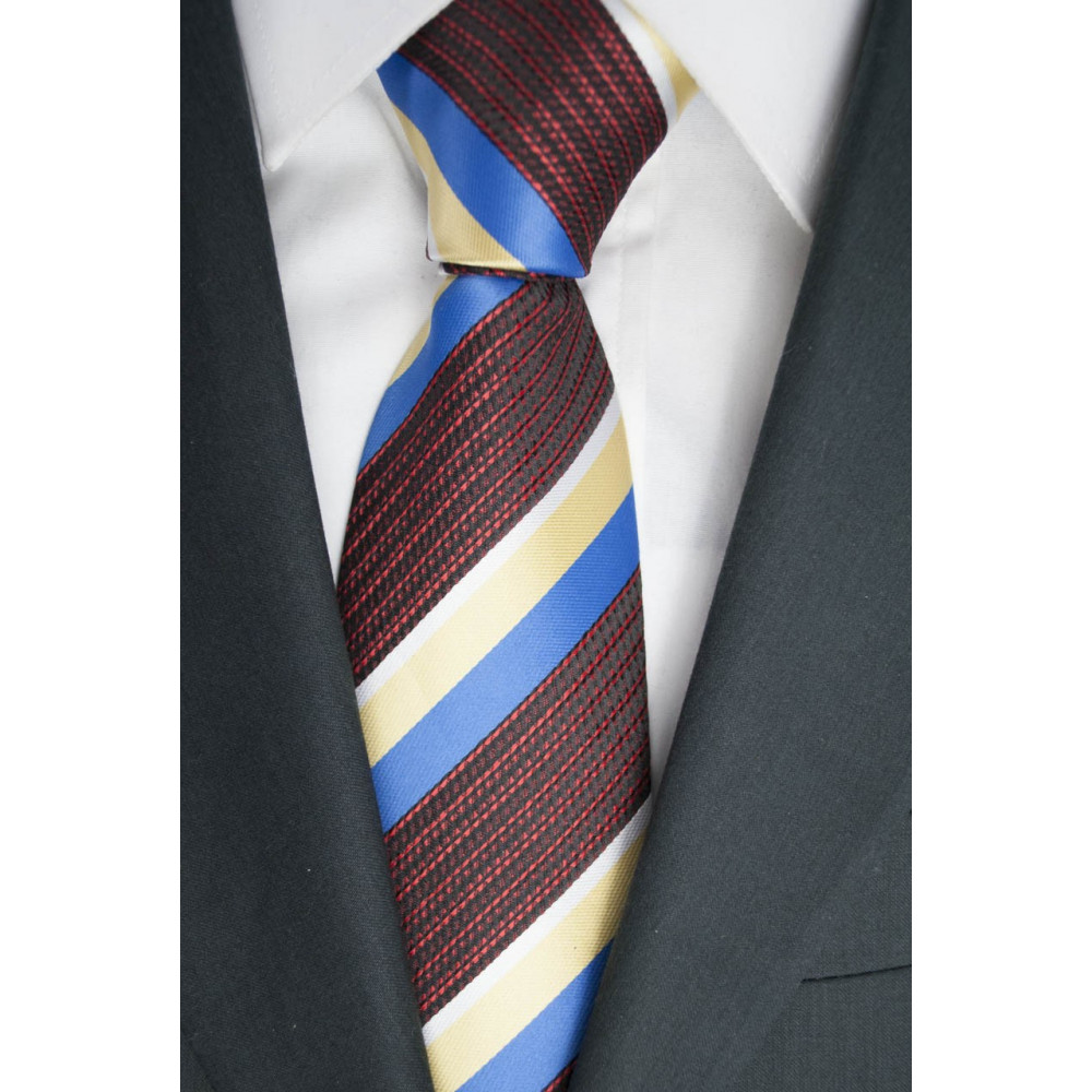 Regimental tie Yellow light blue, Black - Red 100% Pure Silk - Made in Italy