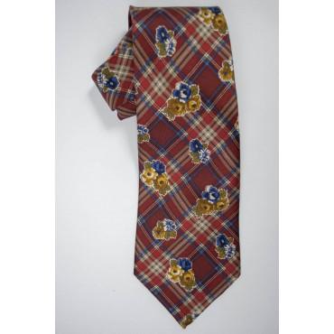 Cravatta Borbonese Disegno Scozzese e Fiori - 100% Pura Seta