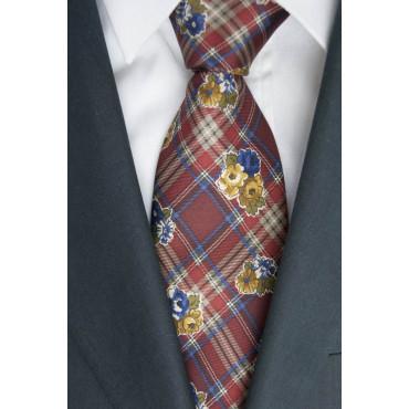 Empate Borbonese Diseño Escocés y Flores - 100% Pura Seda