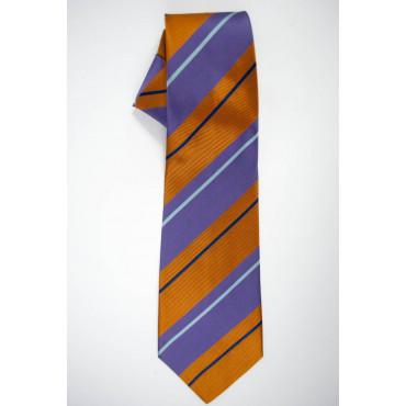 Cravatta Regimental Arancio e Viola - 100% Pura Seta - Made in Italy