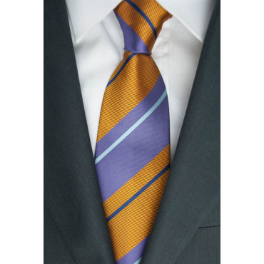 Regimental tie with Orange and Purple - 100% Pure Silk - Made in Italy
