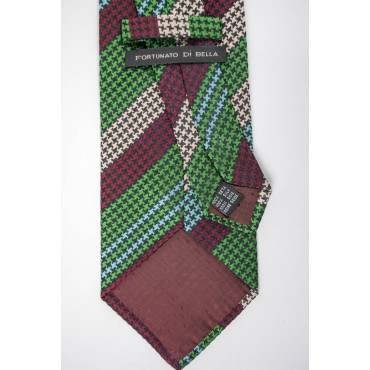 Regimental tie-Green and Burgundy houndstooth - 100% Pure Silk - Made in Italy
