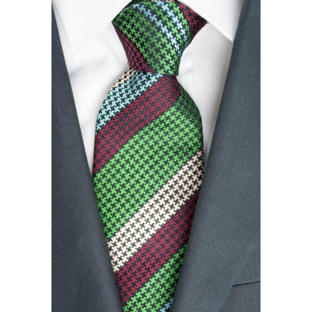 Cravatta Regimental Verde e Bordeaux  Pied de Poule- 100% Pura Seta - Made in Italy