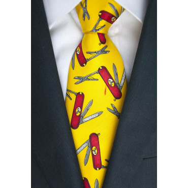 Tie Les Copains Yellow Fancy Pocket Knives - 100% Pure Silk