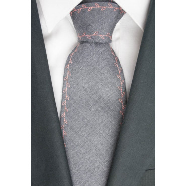 Tie Balenciaga Light Grey Rose Embroidery - 100% Pure new Wool - Made in Italy