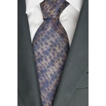 Tie 1° Classe Alviero Martini Beige Fantasy Blue - 100% Pure Silk