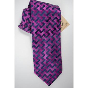 Cravatta Oliver Valentino Blu Piccoli Disegni Fucsia - 100% Pura Seta
