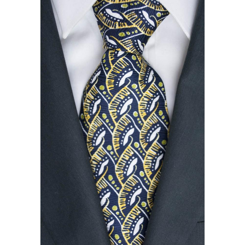 Cravatta Oliver Valentino Blu Fantasia Giallo e Bianco - 100% Pura Seta